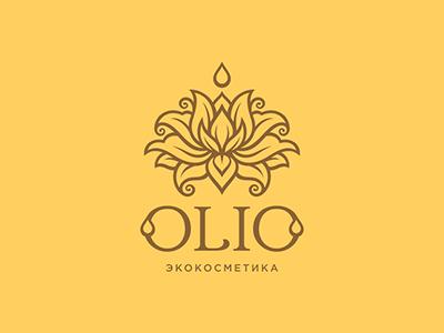 Olio natural design logo lotus flower oil drop olio