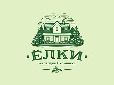 Elki recreation brand landscape design cottage house tree logo fir-tree