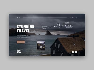 Stunning Travel, 1st screen minimal website web ui ux design