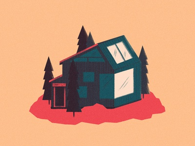 Cabin #3 stylized artwork illustration cabin