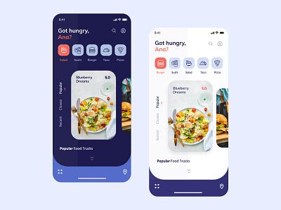 Food Trucks Mobile App food and drink menu search find clean minimal trend 2019 icons dashboard dark ui ios interface design ui ux ui mobile app food app food truck food