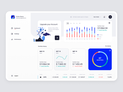 Fintech Investment Tracker statistics clean banking wallet app wallet bank interface ui ux trading investment fintech illustration charts product design minimal financial app finances tracker dashboard