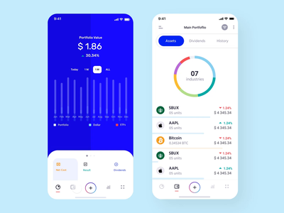 Fintech Investment Tracker Mobile crypto product design minimal tracker animation investment statistics wallet financial bank app clean fintech wallet app financial app mobile app dashboad analytics charts banking bank