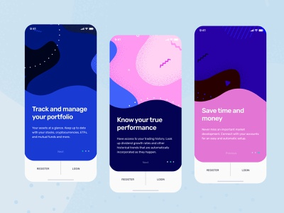 Onboarding screens for Investment app vector onboarding screen pattern banking financial ux ui onboarding product design bank wallet finance app fintech crypto tracker mobile app illustration walkthrough