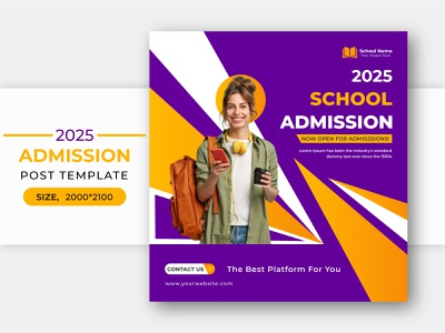 Social Media Admission template post design abstract creative vector eps file premium psd flyer psd education open university education banner template poster adobe illustrator adobe photoshop