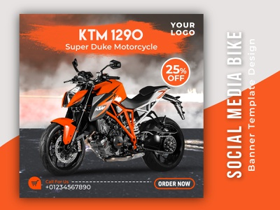 Social Media Bike Banner Template Design new bike brand identity logotype racing bike logo design motorcycle banner banner ad bike logo illustration social poster web banner print design product design branding creative instagram banner banner design graphic design