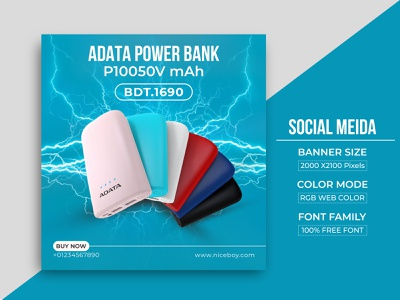 Social Media Unique Power Bank Banner Design instagram banner facebook ad graphic design social poster logo web banner branding motion graphics
