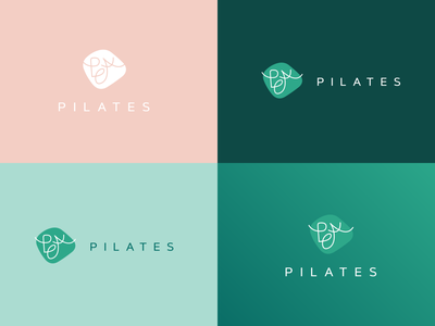 PEA Pilates logos pilates peachy peach green logo designer logodesign pilates logo