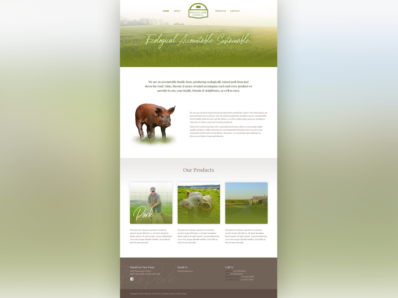 HaanOver View Farms web design website designer agriculture design farm design farm website