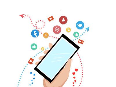 Social media is life flat ux ui ilustrator flat illustration flatdesign vector illustration minimal design designer graphic design
