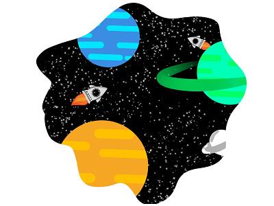 Galaxy ux ui animation flat vector illustration minimal designer design graphic design