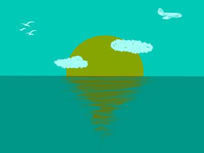 Minimalis ocean sunrise ilustrator flat illustration flatdesign animation flat vector branding illustration minimal designer design graphic design