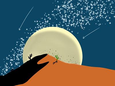 Moon night sahara animation ilustrator flat illustration flatdesign vector flat illustration minimal designer design graphic design
