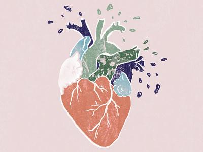 a heart apart drawing procreate illustration heart
