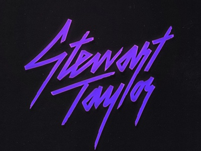 Stewart Taylor typography type branding lettering logo logotype 80s music purple script