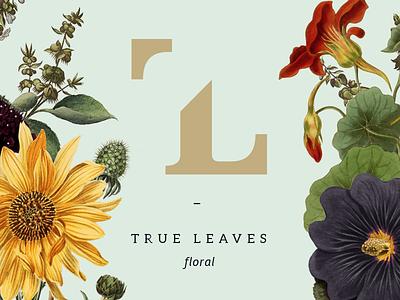 True Leaves Floral Branding leaves true tl flowers botanical business floral branding logotype logo brand