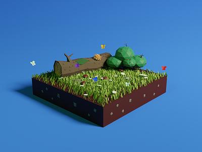 Wooden Meadow (low-poly low-poly illustration 3dmodel 3d frostnout blender3d