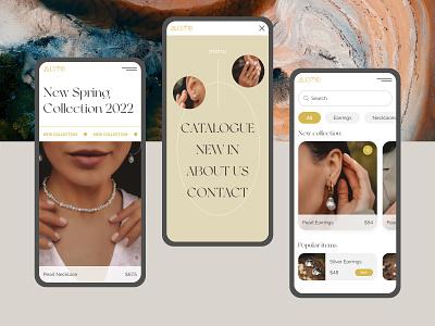Online Jewelry Store mobile web design uiux jewelry online shop store e-commerse ux vector ui logo illustration icon design branding app