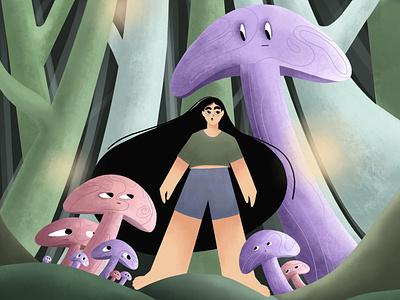 Mushroom Jungle digital illustration digital painting digitalart draw storyteller woman illustration jungle mushrooms storytelling illustrator character 2d art 2d illustration cute character flat design flat illustration illustration cute illustration characterdesign