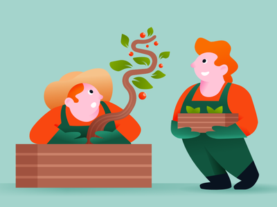WIP gardening growing character design brand illustration urban farming sustainability character illustration