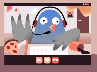 Pablo the Newsletter Pigeon quarantine affinity designer pizza pigeon newsletter skype home office character illustration