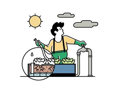 Noocity Spot Illustration weather hose grow food vegetables water garden urban farming character illustration