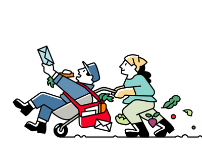 Noocity Email Signature sustainability urban farming vegetables fun delivery postman character illustration