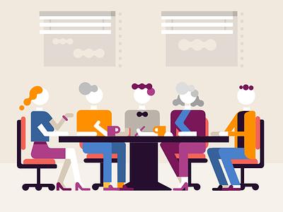 Boardroom meeting illustration character office chairs talking table mugs people meeting boardroom
