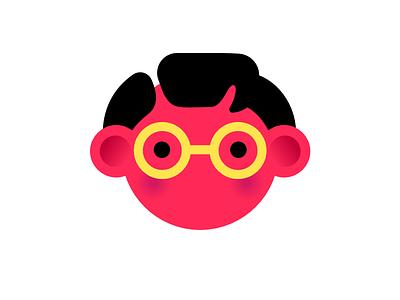 Polka Folk polka dots nerd character face dots