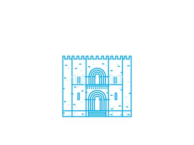 Coimbra Sé minimal coimbra mono line icons monoline city line landmark building architecture illustration