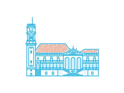 Coimbra University coimbra university minimal icons city monoline line building architecture illustration