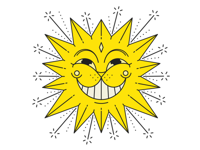 Sun Ron sun cat line character illustration talisman newyear goodluck