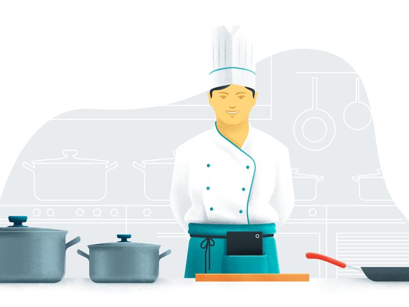 Brand Illustration for TouchBistro brand illustration cook restaurant app digital product restaurant kitchen character illustration
