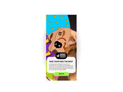 DOG SOCIETY - Sign up 2020 european europa denmark daily 100 challenge daily ui dailyuichallenge illustrator app flat illustration branding design ui