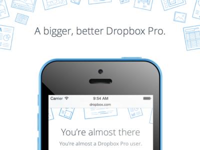 Dropbox Pro responsive payment illustration mobile dropbox announcement
