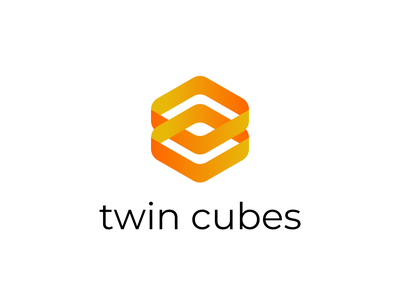 twin cubes logo brand identity commision work minimal graphic design icon branding logo flat
