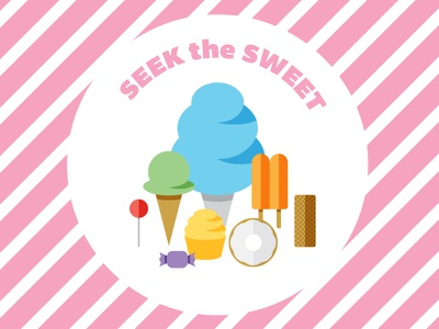 Seek The Sweet Party taffy sucker cupcake donut wafer popsicle ice cream cotton candy junk food sweets candy vector