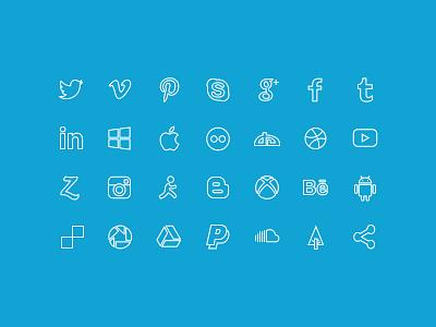 20 outline social icons icons freebie icon set psd social icons facebok icon pinterest icon dribbble icon