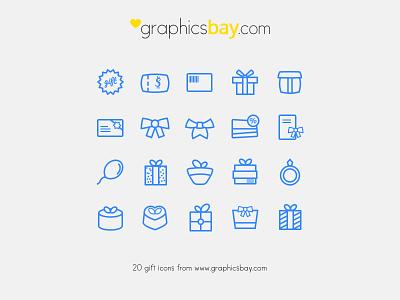 20 Gift Icons - Freebie icons gift icons free icons vector icons psd icons ai icons