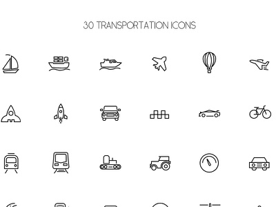 Freebie - 30 Transport Icons icons freebie icon set psd weather icons outline icons vector icons psd icons ai icons free icons