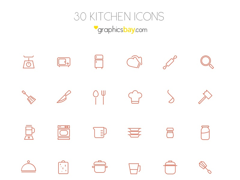 Freebie! 30 kitchen icons in AI and PSD icons icon set outline icons free icons psd icons ai icons icon design