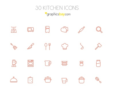 Freebie! 30 kitchen icons in AI and PSD