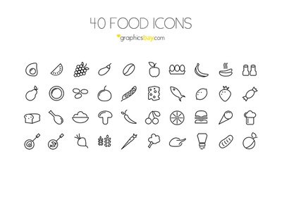 40 Food Icons ( PSD ) icons food icons icon set outline icons free icons psd icons vector icons