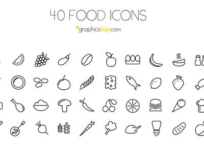 40 Food Icons ( PSD )
