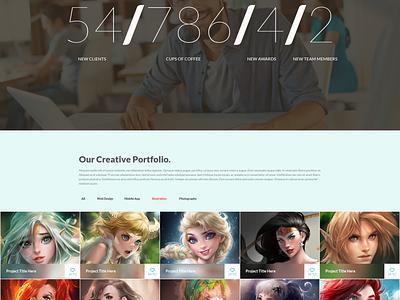 One page portfolio template psd template site website template web template psd template design free freebie flat