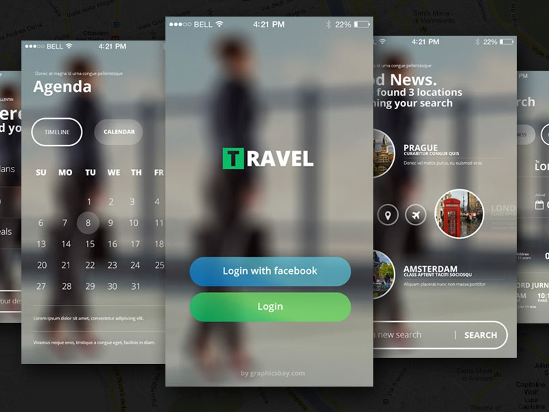 Free PSD Travel App free psd ios iphone design freebie travel app download retina icons app ui kit
