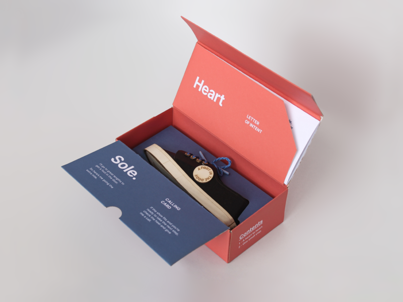 Heart & Sole Packaging - #2 self promotion creative advertising letter of intent calling card shoebox shoe design application unboxing dieline mystery box colour red typography packaging design branding print