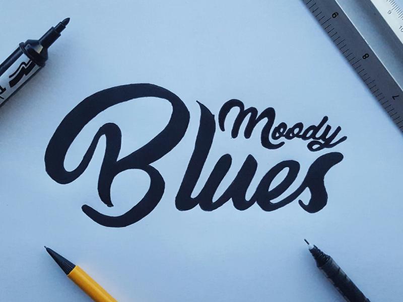 Moody Blues hand lettering brush lettering design type brush typography lettering