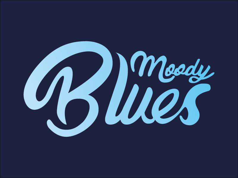 Moody Blues // 2 script blue color calligraphy lettering type vector typography design