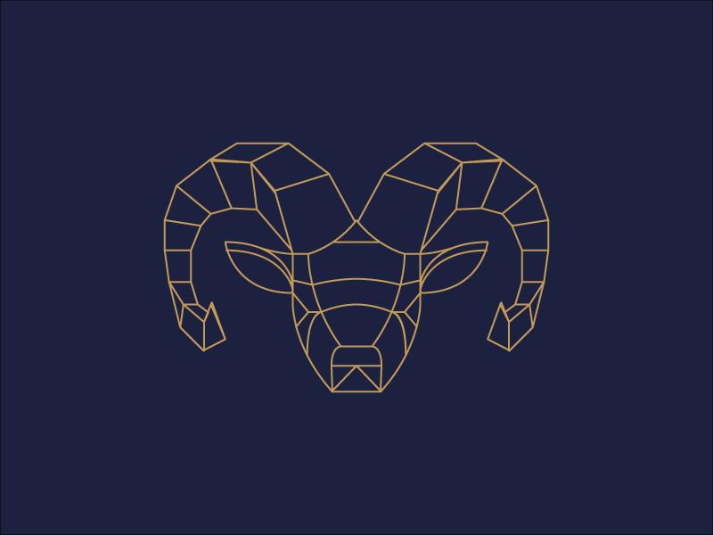 Geometric Ram animal illustration vector design minimal line illustration geometry geometric animal